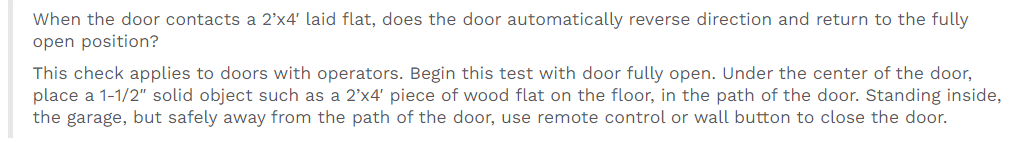 garage test home inspectors