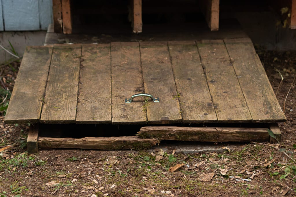 Old, wooden hatch to crawlspace, showing signs of age and crawlspace safety concerns