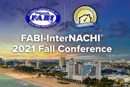 FABI-InterNACHI Fall Conference event graphic, featuring organization logos and event title over sunset image of Florida beach and hotel